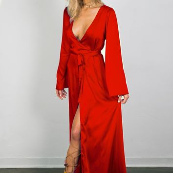 Soah Delilah Wrap Maxi Dress - Red