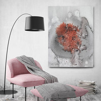 """Coastal Watercolor Abstract 34. Watercolor Abstract Red Black Canvas Art Print, Extra Large Canvas Art Print  up to 72"""" by Irena Orlov"""
