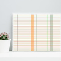 Abstract Art  Plaid_9n,  Limited Edition Giclee 10x8 cotton rag paper, Paul Klee inspired living room wall art apricot orange and sage geeky