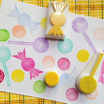candy rubber stamp set. hand carved rubber stamp. hand carved stamps. sweets. lollypop. diy projects. craft with children. set of 3.