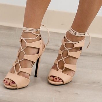 Lace Up-Town Nude Strappy Heels