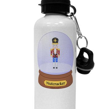 Nutcracker Snow Globe - Red Gold Black Aluminum 600ml Water Bottle by TooLoud
