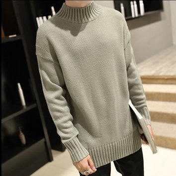 Mens Trendy Short Turtleneck Sweater