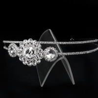 bridal headpiece with side flower  inlaid with various shapes crystals