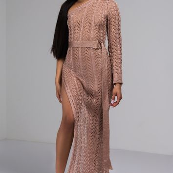 Metallic Knitted One Sleeve Maxi Dress in Rose Gold