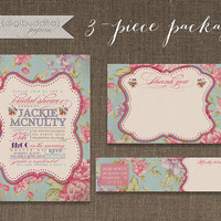 English Rose 3 Piece PARTY PACKAGE Bridal Shower Pink Vintage Rose Shabby Invitation Envelope Wrap Label Thank You Card DIY Digital- Jackie