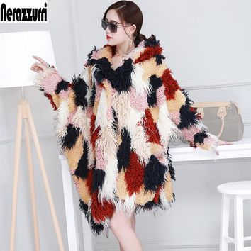 Oversized Hooded Faux fur Coat Women Asymmetrical Colorful Fluffy Large Size Fake Fur Cloak Long Shaggy Hairy Bat Sleeved Jacket