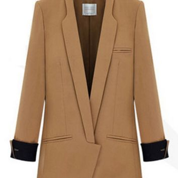 Notched Collar  Cuff Long Blazer Coat