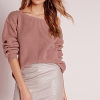 Missguided - Off Shoulder Sweater Pink