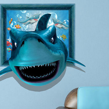 3d animal wall decal for children's bedroom, hotel or KTV wall décor sticker, blue shark nursery wall sticker decals