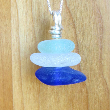 Sea Glass Trio Necklace Sterling Silver by Wave of Life