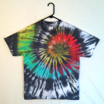 Tie Dye Shirt - Black Rainbow - 100% Cotton - Men and Women's Punk | Hippie Festival Clothes