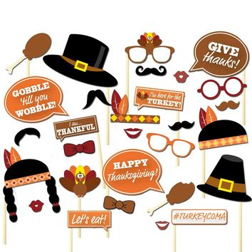 29pcs Thanksgiving Photo Booth Props