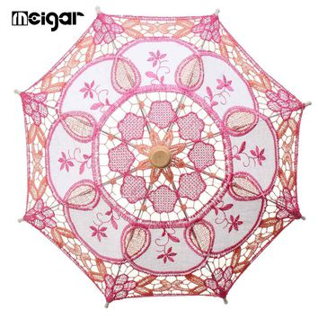 Small Decoration Umbrella for Wedding  Party Multicolor Handmade Embroidered Cotton Lace Parasol Decorative Umbrella