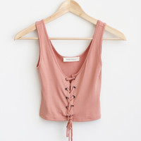 Gemini Lace Up Tank - Rose