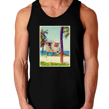 Lifeguard Station Watercolor Dark Loose Tank Top