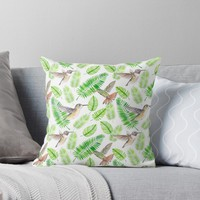 'Hummingbirds and tropical leaves' Throw Pillow by Katerina Kirilova