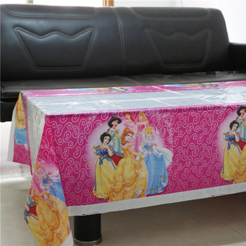 108cm *180cm Cartoon princess disposable tablecloth birthday party plastic tablecover supplies girl favor Can drop shipping