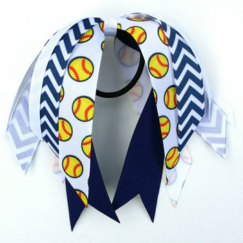 Navy and white softball ribbon streamers, softball team hair bows, ponytail ribbon, team sport, softball bow, fastpitch bow, navy chevron