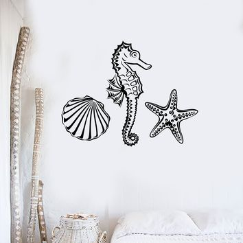 Wall Decal Marine Animal Seahorse Starfish Seashell Ocean Vinyl Stickers Unique Gift (ig2872)