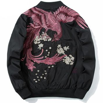 High Street Phoenix Embroidery Plus Size Jacket