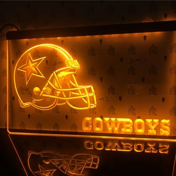B317- Dallas Cowboys Helmet NR Bar LED Neon Light Sign