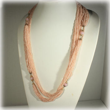 Pink Flapper Necklace, Seed Bead Necklace, Beaded Necklace, Long Necklace, Glass Bead, Pink Salmon, Multi Strand