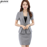 Fashion Women's skirt suits 2016 new summer OL formal short sleeve blazer with skirt business workwear plus size office uniform