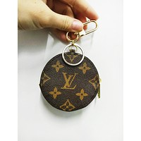 LV Louis Vuitton Fashion Retro Chic Circular Small Bag Leather Key Pouch Car Key Wallet
