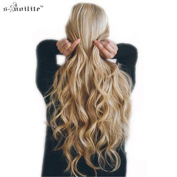 SNOILITE 18 Clips in Hair Extensions Synthetic Hairpiece 24inch Curly Real Styling 8pcs/set Party Cosplay Extension For Human