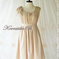 A Party Dress One Shoulder Layered Bow Dress Cream Beige/Nude Dress Prom Dress Party Bridesmaid Dress Wedding Dress Anniversary Dress