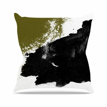 Imprints - Black Gold Abstract Painting Throw Pillow