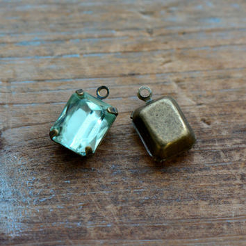 4 - Small Rectangle Jewel Charms LIGHT GREEN Drop Gem Rectangle 8x10mm Brass Claw Setting Charm or Link Gold Antique Bronze Silver (AW038)
