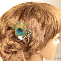 Peacock Hair Comb, Feather Clips,Flower Girls Hair Accessory,Kids Head Piece,Gift for Kids,Baby,Free Gift Box Available