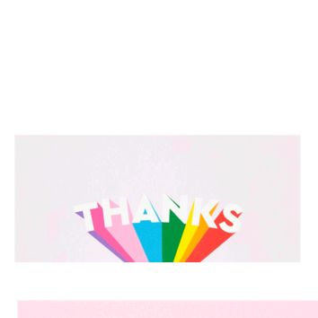 Rainbow Thanks Greeting Card 6-Pack by Skinny Dip London