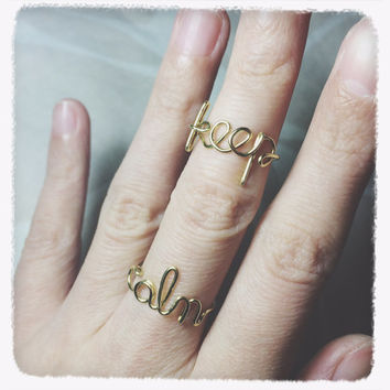 Christmas Sale!Coupon Code 20OFF! handmade initial ring keep calm ring Wire jewelry Adjustable Gold knuckle ring stacking midi ring set