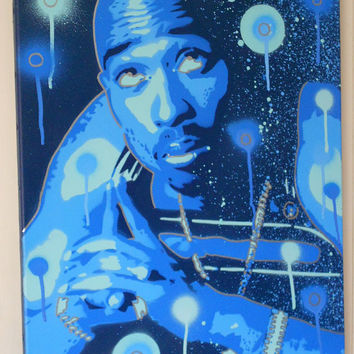 painting of tupac shakur 2pac,pray for a brighter day,stencils & spraypaints on canvas,hip hop,music,america,westcoast,urban,rap,wall art