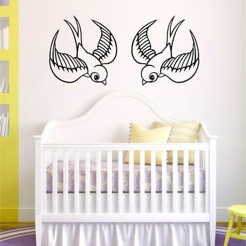 Swallows Birds Wall Decal Sticker Room Art Vinyl Beautiful Animal Nature Cute Baby Nursery