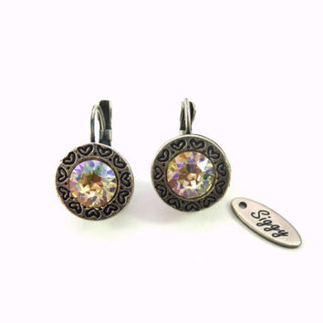 Swarovski crystal earrings, detailed heart decorated border, select a color, siggy designer earrings