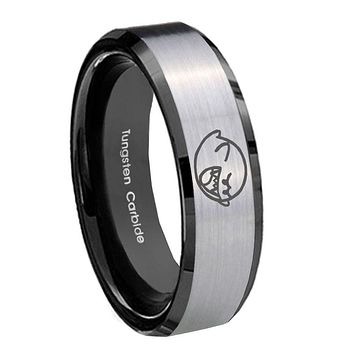 8MM Silver Black Bevel Edges Mario Boo Ghost Tungsten 2 Tone Laser Engraved Ring