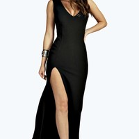 Sia Plunge Neck Fishtail Maxi Dress
