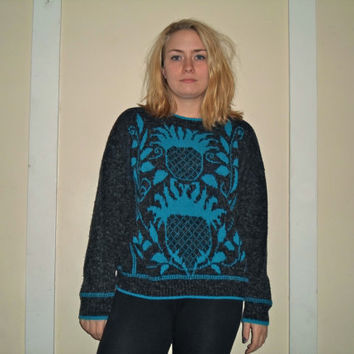 90s Knit Crazy Pineapple Blue Thick Wool Pullover Sweater Crewneck