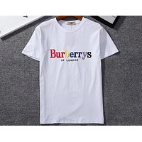 Burberry 2018 new embroidery letters men and women fashion wild short-sleeved T-shirt F-GQHY-DLSX white