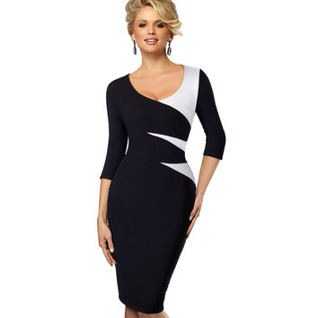 Spring Autumn Women Casual Office Business Colorblock Contrast Patchwork Tunic Fitted Bodycon Pencil Dress EB346