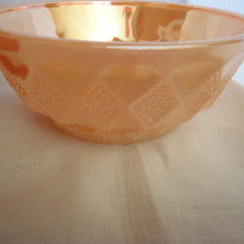 Serving Bowl Peach Luster Anchor Hocking , Fire King Kimberly Diamond Shape Bowl