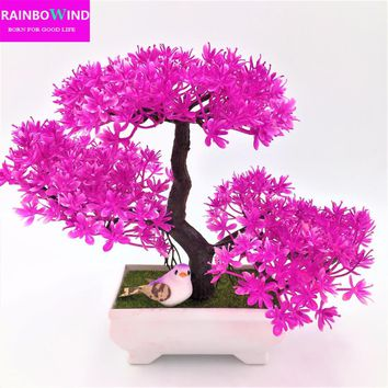 1pc christmas tree Sakura Decorative Artificial Flowers Fake Pot Plants Ornaments