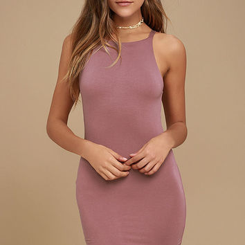 I Bet Mauve Bodycon Dress