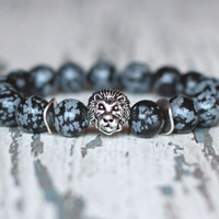 Lion bracelet Beaded Protection bracelet obsidian bracelet Mens Gift ideas for him boyfriends black grey bracelet Mens jewellery african