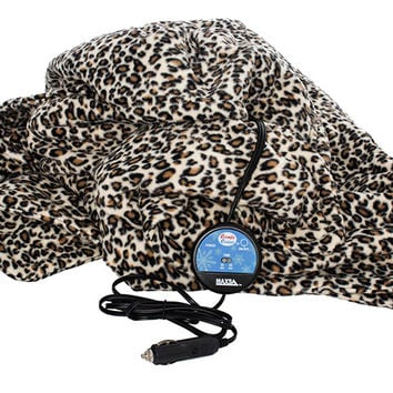 Maxsa COMFY CRUISE 12 V HEATED TRAVEL BLANKET - LEOPARD