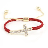 Burgundy/Gold Cross Bracelet